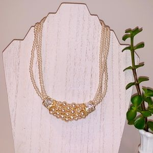 Charming Charlie Faux Pearl and Crystal Necklace
